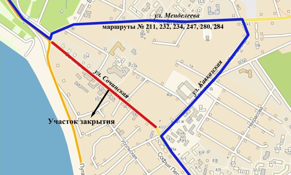 Схема движения 232 маршрутки