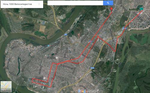 Ночь 1000 велосипедистов маршрут
